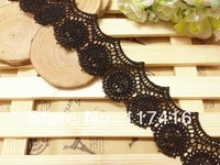 3.8 cm black vintage look polyester swiss lace
