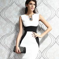 2014 new women Casual dress ladies fashion clothing sleeveless slim waist hip slim one-piece dress HF6165 free shipping