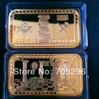 2014 New arrival wholesale 5 pcs /lot free shipping 1 oz 24 k gold plated Masonic bullion bars