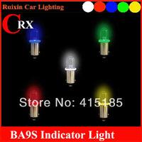 (10pcs/lot) DC12V  BA9S T4W car LED  bulbs indicator led lights lamps white red yellow green blue