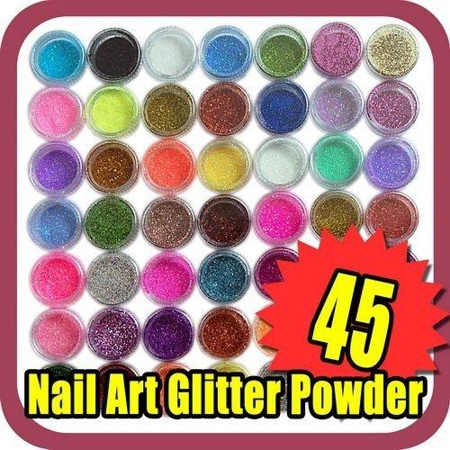Best Selling Free Shipping 45pcs/LOT 45 color Eye shadow Nail Art Glitter Powder DECORATION C040(China (Mainland))