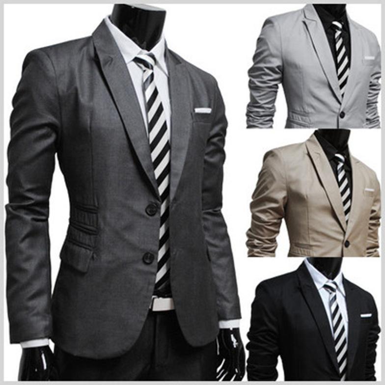 2015 New Fashion Wild Korean Stylish Slim Fit Men&39S Suit Jacket