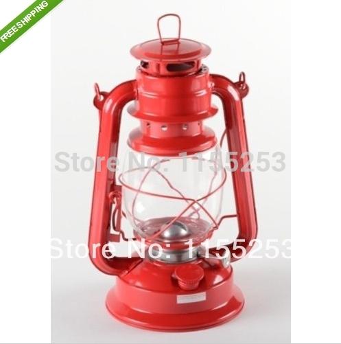 Free shipping! 20CM Red Hurricane Lantern Hanging Emergency Camping Kerosene Oil Lamp Light(China (Mainland))