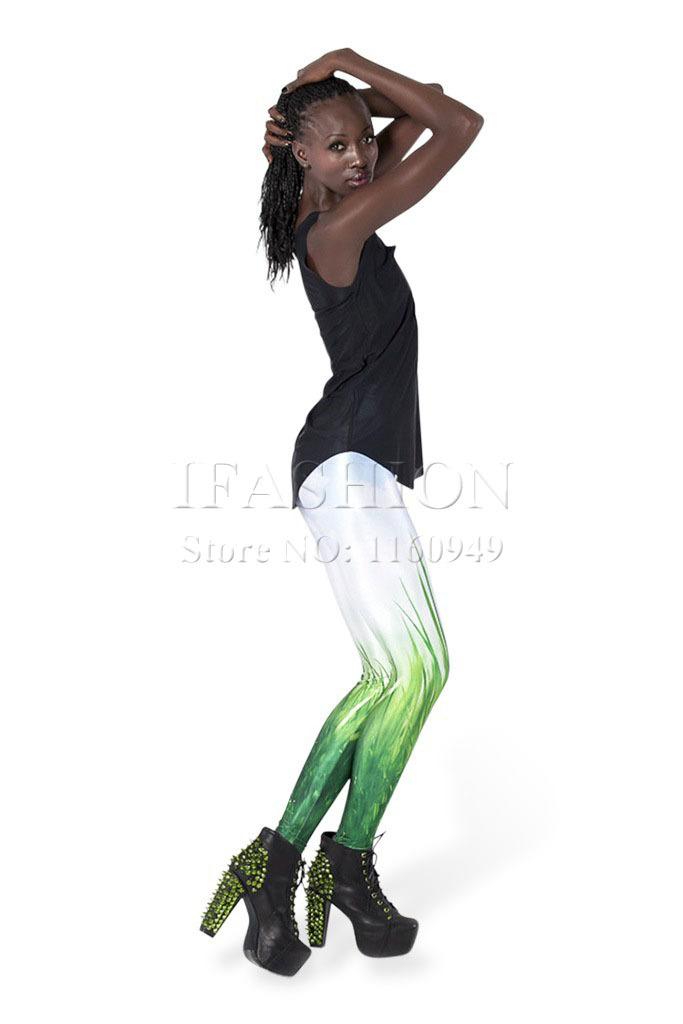 Shiny White Leggings White Green Leggings Shiny