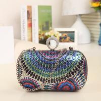 Women's bags 2014 evening bag diamond rhinestone women's handbag paillette flower clutch dinner shoulder handbag free shipping