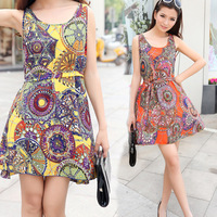 2014 summer new bohemian dress chiffon camisole dress Slim Short Free shipping