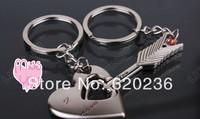 Lover Couple Keychain Key Chain Ring Arrow & Heart Romantic Birthday Gift 50pairs/lot supply