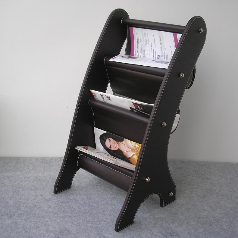 wooden struction leather floor magazine newspaper exhibition display rack shelf organizer holder brown 252B(China (Mainland))