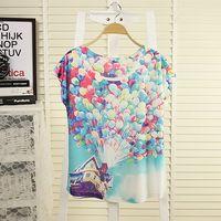 2014 spring and summer women girls plus size multicolour digital print balloon batwing sleeve loose short-sleeve T-shirt female