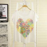 2014 women girls plus size fashion casual fashion batwing sleeve multicolour print all-match loose short-sleeve T-shirt female