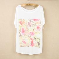 2014 new arrival women girls summer plus size print batwing shirt female casual all-match loose short-sleeve T-shirt