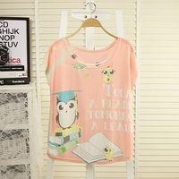 2014 women girls plus size summer street t fashion batwing sleeve digital print loose short-sleeve female