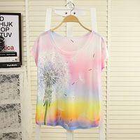 2014 summer women girls plus size fashion t female spring o-neck large batwing sleeve multicolour print short-sleeve T-shirt