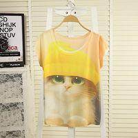 2014 spring and summer women girls plus size fashion loose batwing sleeve digital print short-sleeve T-shirt female