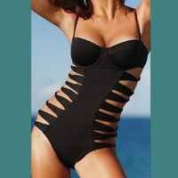 free shipping black bandage cutout wire push up one piece  swimwear
