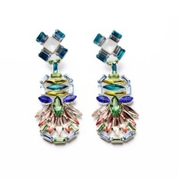 Fashion fashion accessories fresh multi-colored crystal rhombus women's flower earring