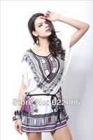2014 New Summer Women's clothing , Bohemian Pagoda printing, High quality ,Collect waist dress , ice silk, big yards, bat sleeve