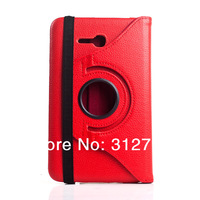 Red  Litchi For Samsung Galaxy Tab 3 Lite 7.0 SM-T110 T111  Rotate PU Leather Case Cover