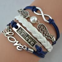 Infinity,love ,Believe Bracelet And Silver Wings bracelet - - Pearl Bracelet--navy blue Wax Cords, Leather Braid