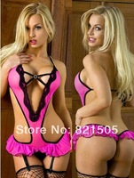 Free shipping  Europe Style sexy lingerie sexy backless uniform costumes bodysuit Baby Doll underwear with G-string Garter