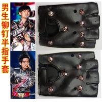 On sale Boys male punk gloves leather semi-finger rivet gloves