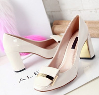2014 New Brand Design Genuine Leather Women Pumps,10cm High Heel Lady Dress Shoe,White Black Patent Leather Party Shoes