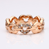 Fashion Woman Beautiful Crystal Jewelry Wedding Ring 18KGP Gold Plated Rhinestone Stainless Steel Rings
