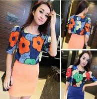 2014 New Fashion Flower Print Ladies Short-Sleeved T-shirt