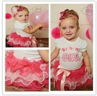 2014 2pcs set baby short sleeve Happy birthday t shirt +Bow tutu layered cake skirts girl summer clothing set
