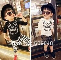 Boys skull T shirt printing kids clothes black white childrens tops 5pcs/lot