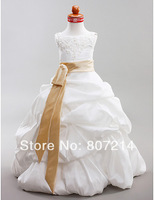 2014 Beautiful Ball Gown Scoop Floor-length Taffeta Flower Girl Dress