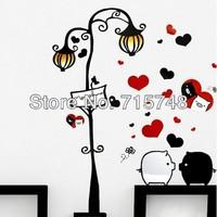 Free Shipping! PVC Love Pig wall stickers, 50*70cm,Environmental protection DIY wall paper,XY8007 100pcs / lot