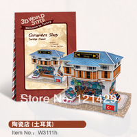 2014 new cubic fun 3D paper puzzle jigsaw ceramics house Turkey construction model kids educational toy free shipping