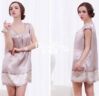 Loose Size Soft silk pajamas,comfortable sleepwear dress  for ladies.noble ladies nightgown free size