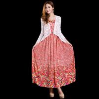 2014 spring and summer women's gentlewomen elegant high waist slim medium-long floral print spaghetti strap chiffon one-piece