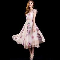 2014 spring and summer women's bohemia sweet o-neck puff sleeve slim medium-long one-piece dress