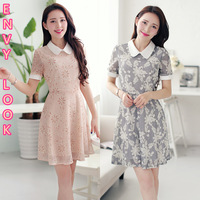 2014 spring and summer women's sweet puff sleeve patchwork peter pan collar print short-sleeve basic one-piece dress