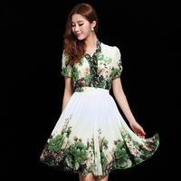 2014 spring and summer women's slim puff sleeve ruffle print medium-long chiffon one-piece dress