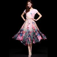 2014 spring and summer women's bohemia sweet elegant medium-long slim print chiffon one-piece dress