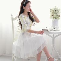 2014 spring and summer women's elegant sweet slim medium-long print basic chiffon lace one-piece dress