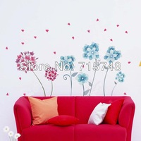 Free Shipping Romantic Pink And Blue Flower Pvc Wall Sticker Room Decor Wall Paper 50*70 Cm