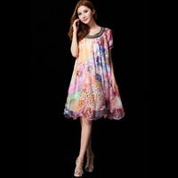 2014 spring and summer women's mulberry silk slim o-neck bohemia medium-long one-piece dress
