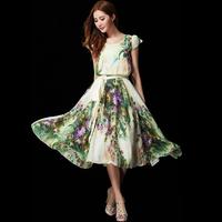 2014 spring and summer women's slim print short-sleeve o-neck medium-long chiffon one-piece dress