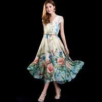2014 women's bohemia fashion print slim medium-long chiffon one-piece dress full dress