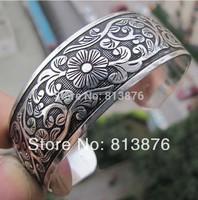 Hot Carving patterns Tibetan silver Women Men Open Adjustable Bracelet Bangle
