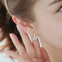 925 Sterling Silver Paper Crane Stud Earrings Women's Charm Jewelry Lover Gift Free Shipping (SE01)