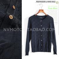 free shipping 2014  autumn g Women cardigan long-sleeve women's thin knitted sweater cardigan small cutout