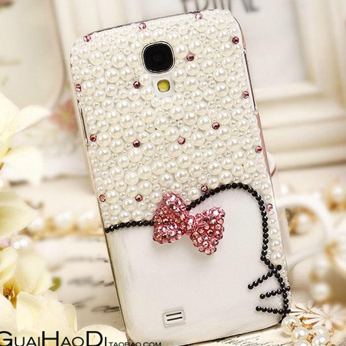 luxury rhinestone 3D hello kitty diamond phone case for Samsung galaxy Note2 Note3 S4 S3 N7100 i9500 i9300 S5 I9600 cute case(China (Mainland))