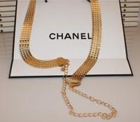 Women's thin belt fashion all-match cutout gold metal belly chain one-piece dress decoration