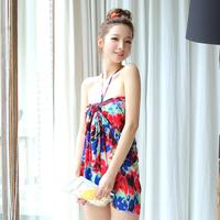 Free shipping 2014 swimwear women bikini split mantillas dress small female high waist bikini swimsuit